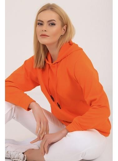 Emjey Kapüşonlu Kanguru Cepli Sweatshirt Oranj
